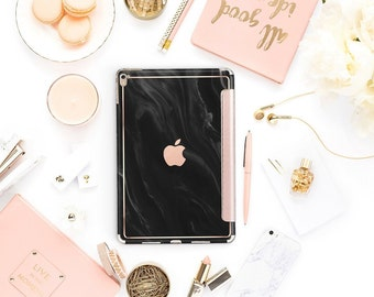 "Black Marble Swirl with Rose Gold Smart Cover Hard Case . iPad Pro 12.9"" 2020 . iPad Pro 11"". iPad Air 10.5"" . iPad Pro  2020"