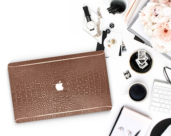 Elegant Terracotta Crocodile and Thin Rose Gold Accents Macbook Hard Case . Hand-Made Macbook Case  . Macbook Pro 13 Case . Macbook Air 13
