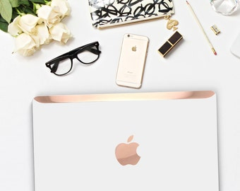 White Pearl Pearlescent Macbook Hard Case. Distinctive Macbook Hard Case and Bold Rose Gold Accents . Macbook Pro 13 Case . Custom Monogram