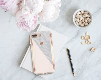 Marble Nude Rose Gold Hard Case Otterbox Symmetry . iPhone X . iPhone Xs Max . iPhone XR . iPhone 8 . iPhone 11