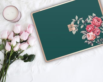 Dark Slate Green Flowerly Collection and Rose Gold Edge Vinyl Skin Microsoft Surface Pro X , Surface Laptop 3 , Surface Pro 7 . Monogram