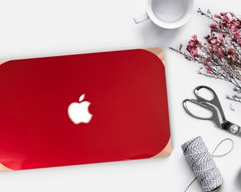 Lipstick Red Macbook Hard Case . Distinctive Macbook Hard Case and Bold Rose Gold Accents . Macbook Pro 13 Case . Custom Monogram