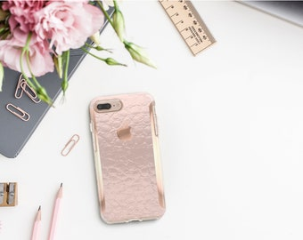 Pink Chrome Alligator iPhone 8 Case iPhone 8 Plus Case iPhone X Rose Gold Detailing  Hard Case Otterbox Symmetry