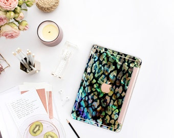 "Abalone Shell Leopard with Rose Gold Smart Cover Hard Case . iPad 9.7 .  iPad Pro 12.9 2018 . iPad Pro 11"" . iPad Air 10.5"". iPad Mini 5"