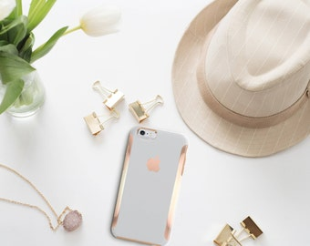 Shades of Gray and Rose Gold Hard Case Otterbox Symmetry                . iPhone X . iPhone Xs Max . iPhone XR . iPhone 8 . PopSocket