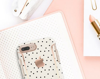 Cream and Dots and Rose Gold Case Otterbox Symmetry. iPhone X . iPhone Xs Max . iPhone XR . iPhone 8 . PopSocket