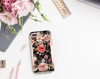 Black Midnight Floral Medley with Rose Gold   Hard Case Otterbox Symmetry. iPhone X . iPhone Xs Max . iPhone XR . iPhone 8 . PopSocket