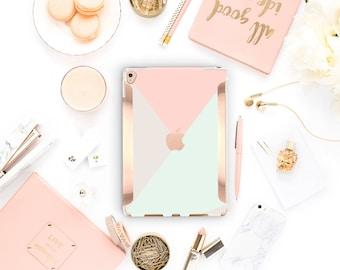 Pastel Shades iPad Case . iPad Pro 10.5 . Rose Gold Detailing iPad Pro 9.7 Smart Keyboard compatible Hard Case