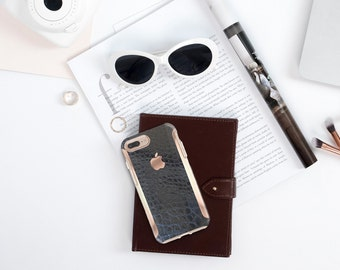 Black Mica Alligator with Rose Gold   Hard Case Otterbox Symmetry . iPhone X . iPhone Xs Max . iPhone XR . iPhone 8 . PopSocket