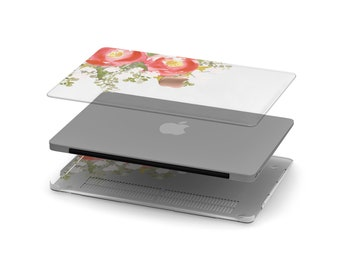 Red Fleur Crystal Clear Transparent Macbook Case . Distinctive Macbook Hard Case and Rose Gold Apple . Macbook Pro 13 Case . Monogram