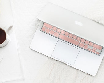 Brushed Rose Gold Chrome Keyboard Key . Keycal . Macbook Pro 13  . Macbook Air  . Macbook Decal . Microsoft Surface - Platinum Edition
