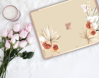 Boho Tropical Bone Flowerly Collection and Rose Gold Edge Vinyl Skin Microsoft Surface Book 2 , Surface Laptop 2 , Surface Pro 6  Surface Go