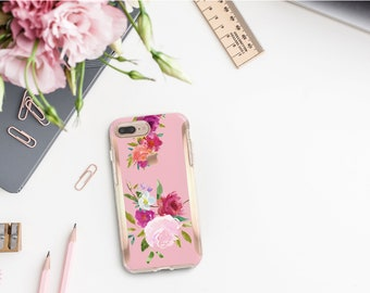 Pink Flowerly Collection and Rose Gold Hard Case Otterbox Symmetry. iPhone X . iPhone Xs Max . iPhone XR . iPhone 8 Monogram