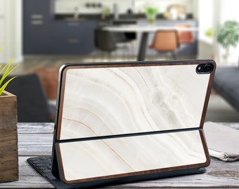 "Marble Stone and Primavera Wood Edge Vinyl Skin Decal - Apple Smart Keyboard Folio iPad Pro 11"" . iPad Pro 12.9"" . iPad Air 10.5"