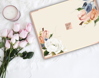 Alabaster Flowerly Collection and Rose Gold Edge Vinyl Skin Microsoft Surface Pro X , Surface Laptop 3 , Surface Pro 7 . Surface Go