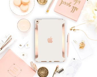 "Cream iPad Case . iPad Pro 10.5 . Rose Gold .iPad Pro 12.9"" Apple Smart Keyboard compatible Hard Case"