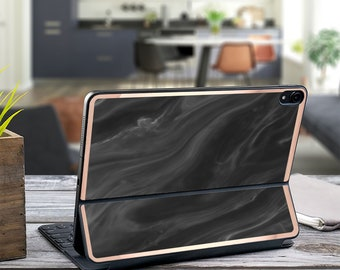 "Black Marble Swirl and Rose Gold Vinyl Skin Decal - Apple Smart Keyboard Folio iPad Pro 11"" . iPad Pro 12.9"" . iPad Pro 2020"" . Monogram"