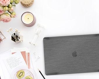 Brushed Steel Macbook Case. Distinctive Macbook Hard Case and Bold Black Accents . Brushed Grey Macbook Pro 13 Case . Custom Monogram