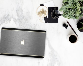 Platinum Edition . Macbook Pro 13 Case Brushed Gray and Black Brushed Edge . Distinctive Macbook Hard Case with Thin Gold Accents .    A1990