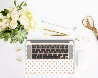 White and Rose Gold Polka Dot with Rose Gold Chrome Detailing Inner Keyboard Tray Vinyl Skin - Platinum Edition