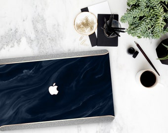 Navy Blue Swirl Marble and Silver Sparkle Edge . Macbook Pro 13 Case Macbook Air Case Laptop Case Macbook Case . Rose Gold Chrome . Platinum