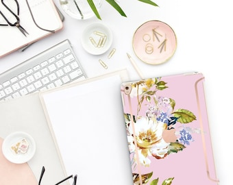 "Sweet Pea Flowerly Collection Bold Rose Gold Accents Smart Keyboard compatible Hard . iPad Air 10.5"" . iPad Mini 5 . iPad Pro 10.5"""