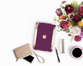 "Purple Davenport iPad Case . iPad Pro 10.5 . Rose Gold .iPad Pro 12.9"" Apple Smart Keyboard compatible Hard Case"