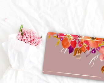 Mauve Mist . Flowerly Collection Leather Macbook Case . Distinctive Macbook Hard Case and Rose Gold . Macbook Pro 13 Case . Custom Monogram