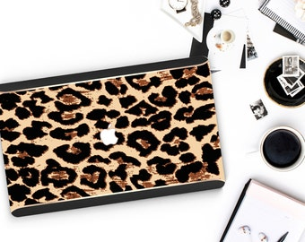 Elusive Leopard and Black Velvet Edge . Distinctive Macbook Hard Case and Bold Rose Gold Accents . Macbook Pro 13 Case . Custom Monogram