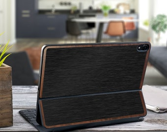 "Brushed Black and Primavera Wood Edge Vinyl Skin Decal - Apple Smart Keyboard Folio iPad Pro 11"" . iPad Pro 12.9"" . iPad Air 10.5"