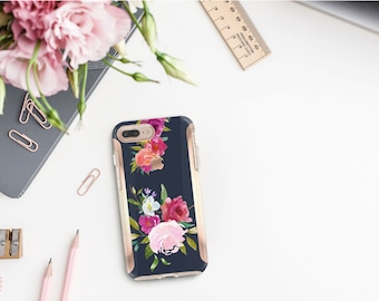 Navy Blue Flowerly Collection and Rose Gold Hard Case Otterbox Symmetry. iPhone X . iPhone Xs Max . iPhone XR . iPhone 8 Monogram