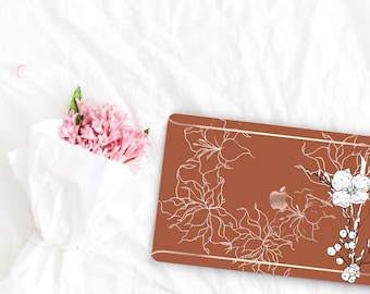 Saddle Flowerly Collection Leather Macbook Case . Distinctive Macbook Hard Case and Rose Gold . Macbook Pro 13 Case A2159  . Custom Monogram