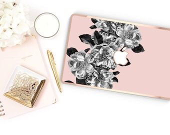 Black Rose Quartz                 . Distinctive Macbook Hard Case and Bold Rose Gold Accents . Macbook Pro 13 Case . Custom Monogram