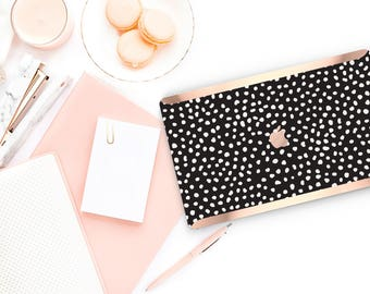 Dots  Black                  . Distinctive Macbook Hard Case and Bold Rose Gold Accents . Macbook Pro 13 Case A2159  . Custom Monogram