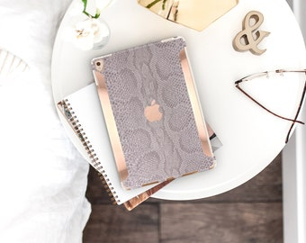 Gray Silver Snake with Bold Rose Gold Accents . iPad Case . iPad Pro 10.5 . Smart Keyboard compatible Hard Case