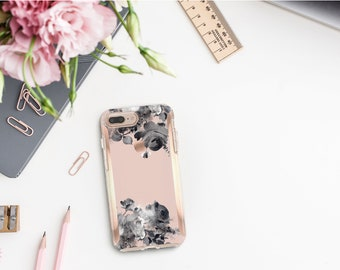 French Rose Flowerly Collection and Rose Gold Hard Case Otterbox Symmetry. iPhone X . iPhone Xs Max . iPhone XR . iPhone 8 . Monogram