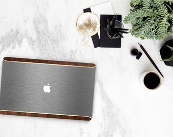 Elegant Brushed Gray & Primavera Rustic Wood. Distinctive Macbook Hard Case and Bold Rose Gold Accents . Macbook Pro 13 Case Custom Monogram