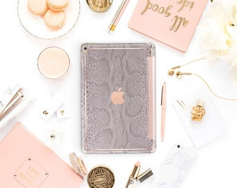 "Gray Silver Snake Rose Gold Smart Cover Hard Case for iPad Pro  . New iPad 9.7 2018. New iPad Pro 12.9 2018 . iPad Pro 11"" . iPad Mini 4"