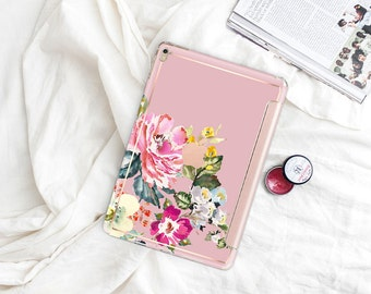 "Sweet Pea with Rose Gold Smart Cover Hard Case . iPad Pro 12.9"" 2020 . iPad Pro 11"" . iPad 10.2 Gen 8. iPad Pro  2020 . Custom Monogram"