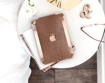 Terracotta Crocodile with Bold Rose Gold Accents . iPad Case . iPad Pro 10.5 . Smart Keyboard compatible Hard Case