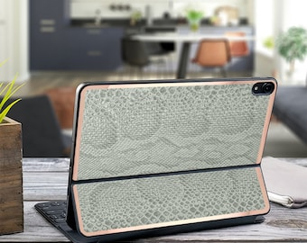 "Light Pistachio Snake Rose and Rose Gold Vinyl Skin Decal for Apple Smart Keyboard Folio iPad Pro 11"" . iPad Pro 12.9"" . iPad Pro 2020 Magic"
