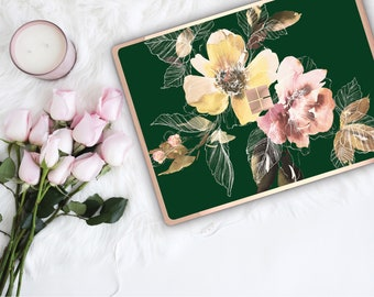 Phthalo Green Flowerly Collection and Rose Gold Edge Vinyl Skin Microsoft Surface Pro X , Surface Laptop 3 , Surface Pro 7 . Surface Go