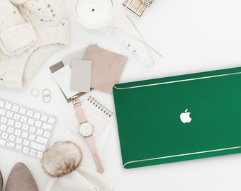 Leather Green Bean and Thin Rose Gold Accents Macbook Hard Case . Hand-Made Macbook Hard Case  Macbook Air 13 2018 A1990 . A1990