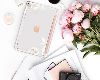 "Light Sketchy Florals and Rose Gold Smart Hard Case for the iPad 9.7 2018 . iPad Pro 12.9 2018 . iPad Pro 11"" . iPad Air 10.5"". iPad Mini 5"