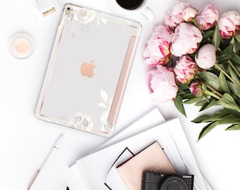 "Light Sketchy Florals and Rose Gold Smart Hard Case for the iPad 9.7 2018 . iPad Pro 12.9 2018 . iPad Pro 11"" . iPad 10.2 Gen 8. iPad Mini 5"