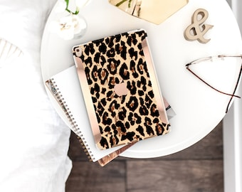 Elusive Leopard with Bold Rose Gold Accents . iPad Case . iPad Pro 10.5 . Smart Keyboard compatible Hard Case