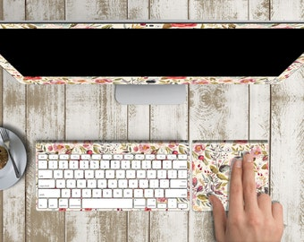 """Morning Floral Medley Skin Vinyl Decal for iMac 21.5""""  . iMac 27"""" 5k (Includes Wireless Apple Keyboard / Apple Magic Touchpad / Foot)"""