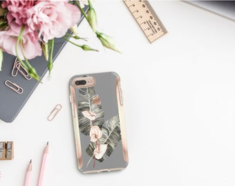 Spanish Gray Flowerly Collection and Rose Gold Hard Case Otterbox Symmetry. iPhone X . iPhone Xs Max . iPhone XR . iPhone 8 Monogram