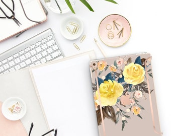 "Pale Silver Flowerly Collection Bold Rose Gold Accents   Smart Keyboard compatible Hard . iPad Air 10.5"" . iPad Mini 5 . iPad Pro 10.5"""
