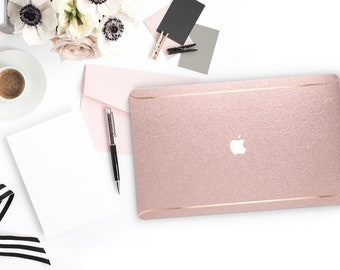 Pink Sparkle Shimmer Glitter .   Macbook Air Case Laptop Case Macbook Case . Rose Gold Chrome . Platinum A1990 . A1990